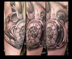 Art work by Greg Nicholson, incredible pocket watch tattoo #myworldofink