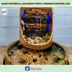 Diy Water Fountain, Rock Fountain, Porch Plants, House Plants Decor, Aquarium Terrarium, Aquarium Fish, Backyard Garden Design, Ponds Backyard, Homemade Waterfall