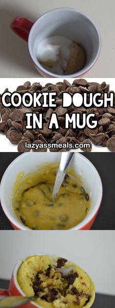 Yummy cookie dough in a mug! There goes my diet :( http://lazyassmeals.com/cookie-dough-in-a-mug