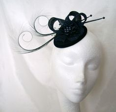 Black Isadora Fascinator By Gothic Diva Designs Specialising in Fabulous Elegant Gothic, Victorian Vintage & Steampunk inspired wedding designs,  Including mini hat fascinators, formal hats, feathered hair clips, ostrich & peacock feather fans, black wedd