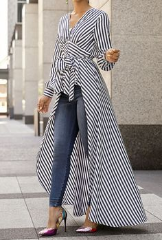 V-Neck Striped Tie Waist Dip Hem Irregular Blouse - Stylish Fashion Look Fashion, Hijab Fashion, Fashion Dresses, Womens Fashion, Fashion Design, Fashion Trends, Ladies Fashion, Maxi Dresses, Fashion Ideas
