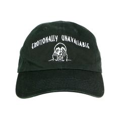 EMOTIONALLY UNAVAILABLE CAP ($36) ❤ liked on Polyvore featuring accessories, hats, emotionally unavailable and cap hats