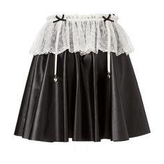 [ハートチャームレースフリルガーターベルトフェイクレザースカート] ❤ liked on Polyvore featuring skirts
