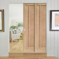 Twin Telescopic Pocket Worcester 3P Oak Veneer Door - Lifestyle Image.    #oakdoors #slidingdoors #pocketdoors