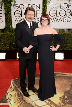 BEVERLY HILLS, CA - JANUARY 12: Actors Nick Offerman and Megan Mullally attend the 71st Annual Golden Globe Awards held at The Beverly Hilton Hotel on January 12, 2014 in Beverly Hills, California. (Photo by Jason Merritt/Getty Images)