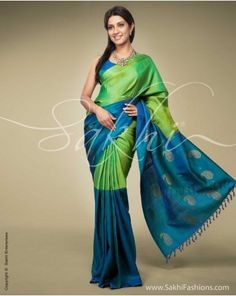 Half n Half Kanchi A contemporary take on a classic #Kanchivaram Silk #saree in Half n Half concept featuring Paisley inspired zari motifs in fresh colours of the season Green and Blue.  Code: SR-0109 http://www.sakhifashions.com/saree/sr-0109-half-n-half-kanchi.html