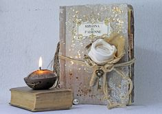 Rustic French Barn Guest Book and Fairytale Wedding Photo Album  Wedding Memory Book Tarnished Gold Parisian theme Scrapbook