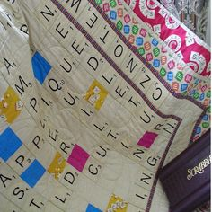 Quilt Scrabble Throw....My mom is making one of these with kids and grandkids names on it.... really cute!