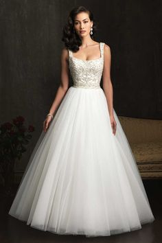 2014 Wedding Dress Straps A Line Beaded Bodice With Tulle Skirt White Square Neckline