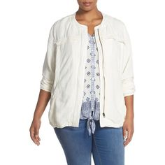 Lucky Brand Collarless Linen Blend Jacket ($77) ❤ liked on Polyvore featuring plus size women's fashion, plus size clothing, plus size outerwear, plus size jackets, egret, plus size, flap jacket, light weight jacket, plus size lightweight jacket and summer jacket