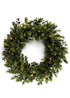 Gorgeous boxwood wreath with lights