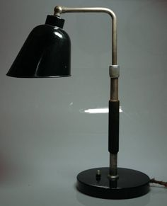 """Goethe"" lamp, designed by Christian Dell circa 1928 for Bünte+Remmler, this one made in 1930s. Dell was from 1922 to 1925 the master of the Bauhaus metal-workshop."