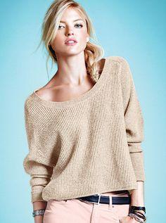 swing sweater - neutral beige belt corduroy cords bracelet wide neck off shoulder fall outfit autumn