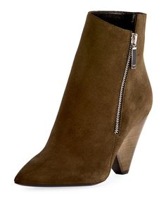 9332c2716f9 Niki Asymmetric Suede Ankle Boot by Saint Laurent at Neiman Marcus Suede  Ankle Boots
