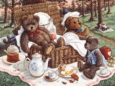 Bears Picnic, a painting of ma and pa bear sitting in the wicker picnic basket while baby bear sits with tea and dessert, one of the Janet K...