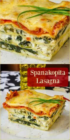 Spanakopita Lasagna a delicious fusion of Greek and Italian cuisines! is part of pizza - Spanakopita Lasagna a fusion of Greek and Italian cuisines in an incredibly flavourful lasagna, piled with layers of goat cheese, feta & spinach filling Veggie Recipes, Pasta Recipes, Vegetarian Recipes, Dinner Recipes, Cooking Recipes, Healthy Recipes, Greek Food Recipes, Lasagna Recipes, Feta Cheese Lasagna Recipe
