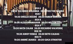 Programação:   #sovibras   Dia 619:30 Ricardo Bologna – 20:30Victor Vieira Dia 719:30 Emilia Desiré – 20:30 Ruben.
