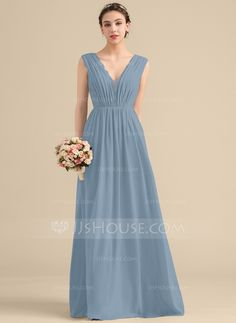 f7ecc4269a A-Line Princess V-neck Floor-Length Chiffon Lace Bridesmaid Dress With