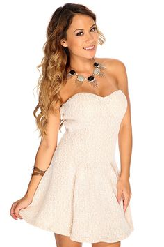 This stylish dress is sure to catch attention! Featuring strapless, lightly padded, sweetheart neckline, full skirt, followed by a fitted wear. 100% Polyester.