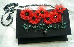 Pretty ribbonwork Poppies on purse.