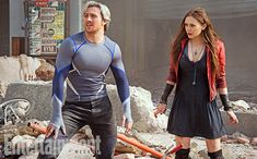 """Is it just me, or does Quicksilver just look kinda like, """"Ugh, really?"""" But an interesting look at #Avengers2, regardless!"""