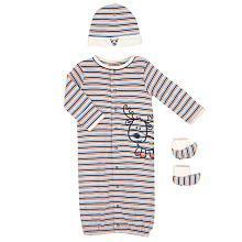 Babies R Us Boys Striped Gown Set - Orange (0-3 Months)