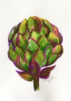 Original Purple Artichoke  Watercolor Painting by SharonFosterArt, $15.00