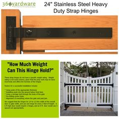 """This pair of stainless steel strap hinges is a terrific option when you're looking for a clean, contemporary hinge. These hinges can be used for carriage house doors, shed doors, or gates. they fit doors and gates with a maximum thickness of 5""""."""