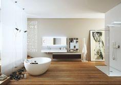 design salle bains zen: sol en bois et déco en galets