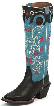 LOVE these Tony Lama Ladies Blue / Black Stovepipe Buckaroo Boots Black Cowgirl Boots, Cowboy Boots Square Toe, Cowboy Shoes, Western Wear, Western Boots, Western Style, Buckaroo Boots, Series Black, Tony Lama Boots