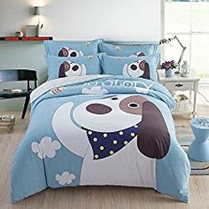 Cartoon Pet Dog Basset Hound Andreannie Queen Size 3d Bedding Sets The Best Choice For Dog Lovers Soft Sanding Brushed Cotton Material 4pc Duvet Cover Sets For Family Gift Without Comforter