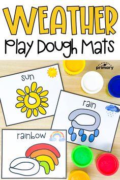 Weather Play Dough Mats Weather Activities For Kids, Preschool Weather, Fall Preschool Activities, Playdough Activities, Preschool Science, Therapy Activities, Toddler Activities, Learning Activities, Weather Kindergarten