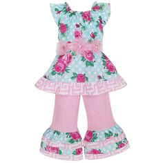 This adorable girl's two piece floral rose outfit features three pink flowers on the front of the top.Jersey pants are finished off with matching layers and an elastic waist for comfort.
