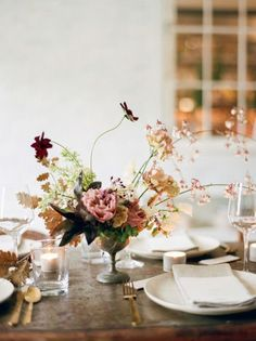 fine art wedding reception decor and florals for an autumn wedding