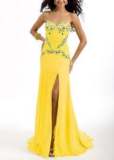 90dabcc2c1 Enchanted Chiffon Sheath Strapless Sweetheart Neckline Drop Waist Floor  Length Slit Prom Dress After Prom Dresses