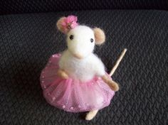 I hate pinning etsy sale items... But she is sooooooo Cute!! A sweet little felted mouse in her pink tutu.