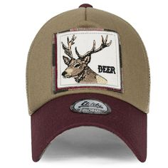 87bbcbbc064 Wolf Deer Animal Square Patch Casual Mesh Baseball Cap Trucker Hat -  Burgundy - C81825CTCK5
