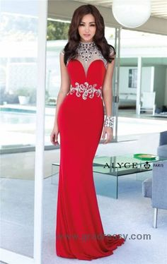 Alyce Paris 6393 Beaded High Neck Long Red Prom Dresses
