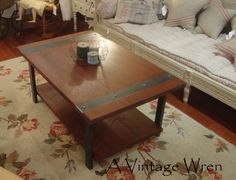 Industrial style coffee table, designed and crafted exclusively by A Vintage Wren. Made from locally and sustainably sourced Eastern White Pine and American Steel http://www.facebook.com/AVintagewren