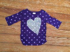 Little Miss Attitude 2T purple heart long sleeve shirt
