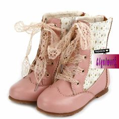 Designer Pink Leather Lace up Girls Winter Fashion Dress Ankle Boots SKU-133296