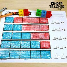 Hands-on activities for teaching students how to decompose numbers Numbers Kindergarten, Preschool Math, Math Classroom, Kindergarten Activities, Fun Math, Teaching Math, Classroom Ideas, Teaching Ideas, Kindergarten Addition