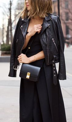 all black. #street style. leather jacket.