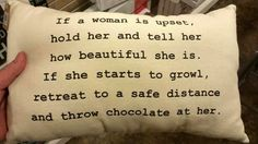 If a woman is upset... Pillow with typewriter font.    #MirandaGwen