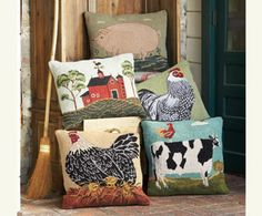 Farm-Fresh Hooked Pillows( I want the cow pillow) from Napa Style Farmhouse Design, Rustic Design, Wool Pillows, Throw Pillows, Pillow Room, Pillow Talk, Napa Style, Fiber Art Quilts, Animal Pillows