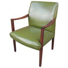 Mid Century Modern Green Vinyl Armchair