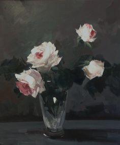 Summer Roses in Vase by Parastoo Ganjei Art Flowers, Flower Art, Flower Paintings, Oil Paintings, Aesthetic Art, Contemporary Artists, Flora, Lime, British Artists