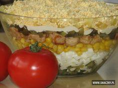 Pyszna, warstwowa sałatka z kurczakiem - jest idealna na kolację:  http://www.smaczny.pl/przepis,warstwowa_salatka_z_kurczakiem  #przepisy #sałatki #sałatkazkurczakiem #warstwowasałatka #jajka #kukurydza #ogórki #prosteprzepisy