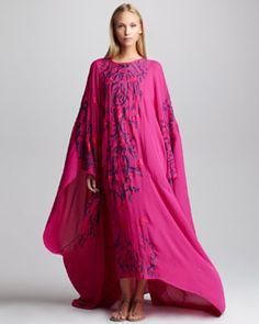 B21W5 Emilio Pucci Embroidered Silk Caftan