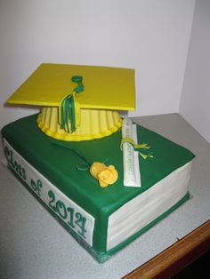 I was asked to make a graduation cake for a young lady.  This is done in her school colours.  The cake is a 2 layer 9 x 13 white almond sour cream (best recipe and cake ever Melissa) and covered in fondant.  The grad cap I made by melting candy melts and molding them in my giant cupcake pan.  I covered an 8 x 8 cakeboard with fondant to make the mortar board on the cap.  The tassel and scroll are made of fondant.  The rose, which was a last minute idea, is gumpaste.